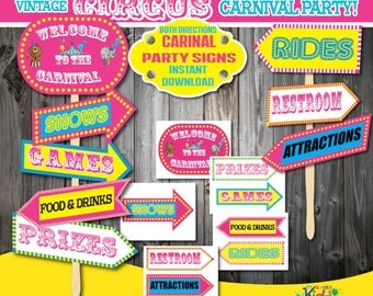 Instant Download! Pink Carnival Party signs in both directions, Circus Party decoration, Carnival Birthday Party Decorations