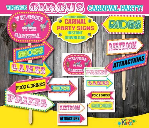 Download! Pink Carnival Party signs in both directions, Circus Party ...