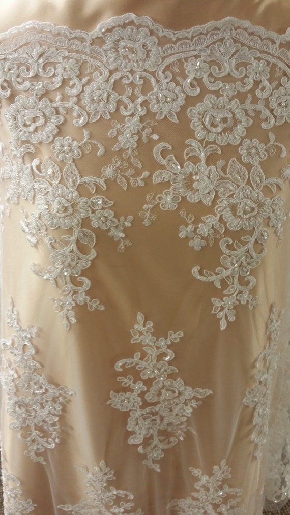 Ivory lace fabric by the yard french lace alencon lace for French lace fabric for wedding dresses