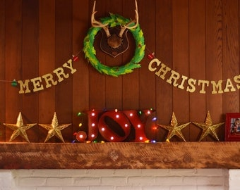 Glitter MERRY CHRISTMAS Garland w/ Felt Ornaments / Modern Mantle Decor / Holiday Photo Prop Banner / Customizable Colors