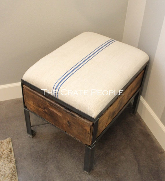 Blue striped grain sack upholstered ottoman vintage crate