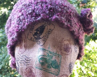 floppy knit hat boucle cloche beanie with flower