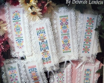 Pretty Bookmarks By Deborah Lambein Vintage Cross Stitch Pattern Leaflet 1993