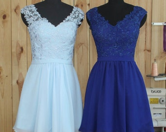2016 Blue Bridesmaid dress, Lace Chiffon Short Wedding dress, Formal dress, V Neck Blackless Party dress, Prom dress knee length