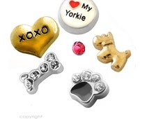 Yorkie Lover Charm(s) Set  - You Choose 1 - 6 Dog Floating Charms -  Fits all Living Memory Origami Lockets, Key Chains, Bracelets