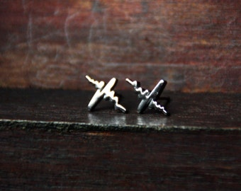 Studs cardiogram silver stainless steel