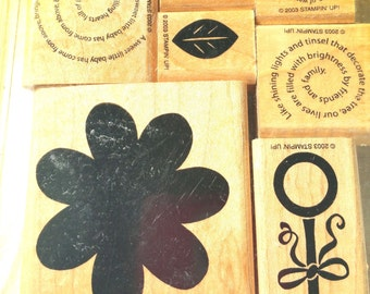 Retired Stampin Up! Two step Stampin' Just my type rubber stamp set Wood Mounted,  flower rubber stamp, Stampin Up Stamp Set, Flower Stamp