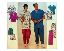 """Mens/ Misses Scrubs Sewing Pattern, Pants or Shorts, Top and Jacket Size XS-S-M Bust/ Chest 30, 32, 34, 36, 38, 40"""" Uncut Simplicity 8088"""