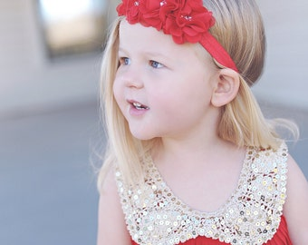 Headband - Embellished Rosette Trio Headband in RED