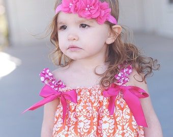 Headband - Embellished Rosette Trio Headband in Hot Pink