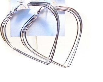3 inch Hoop Earrings Triple Hoop Earrings Heart Shape Hoop Earrings Rhodium Plated