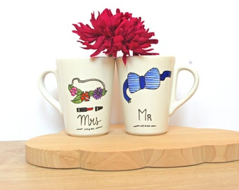 Mrs and Mr Cups / Wedding Present / Gift (couple, Valentine's Day)