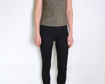 90's Benetton textured lycra olive green top, army green silver gray t shirt grunge minimalist short sleeve blouse