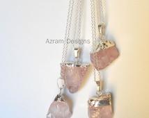 Raw Rose Quartz, Crystal Necklace, Raw Quartz Necklace, Love Stone, Bridesmaid Gift, Healing Crystal, Raw Crystal,  Healing Stone,Raw Stone