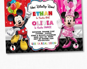 Mickey Minnie Mouse Twins Birthday Invitation, Twins Siblings Clubhouse Mickey Minnie Invitations, Invitations For Twins & Siblings pink red