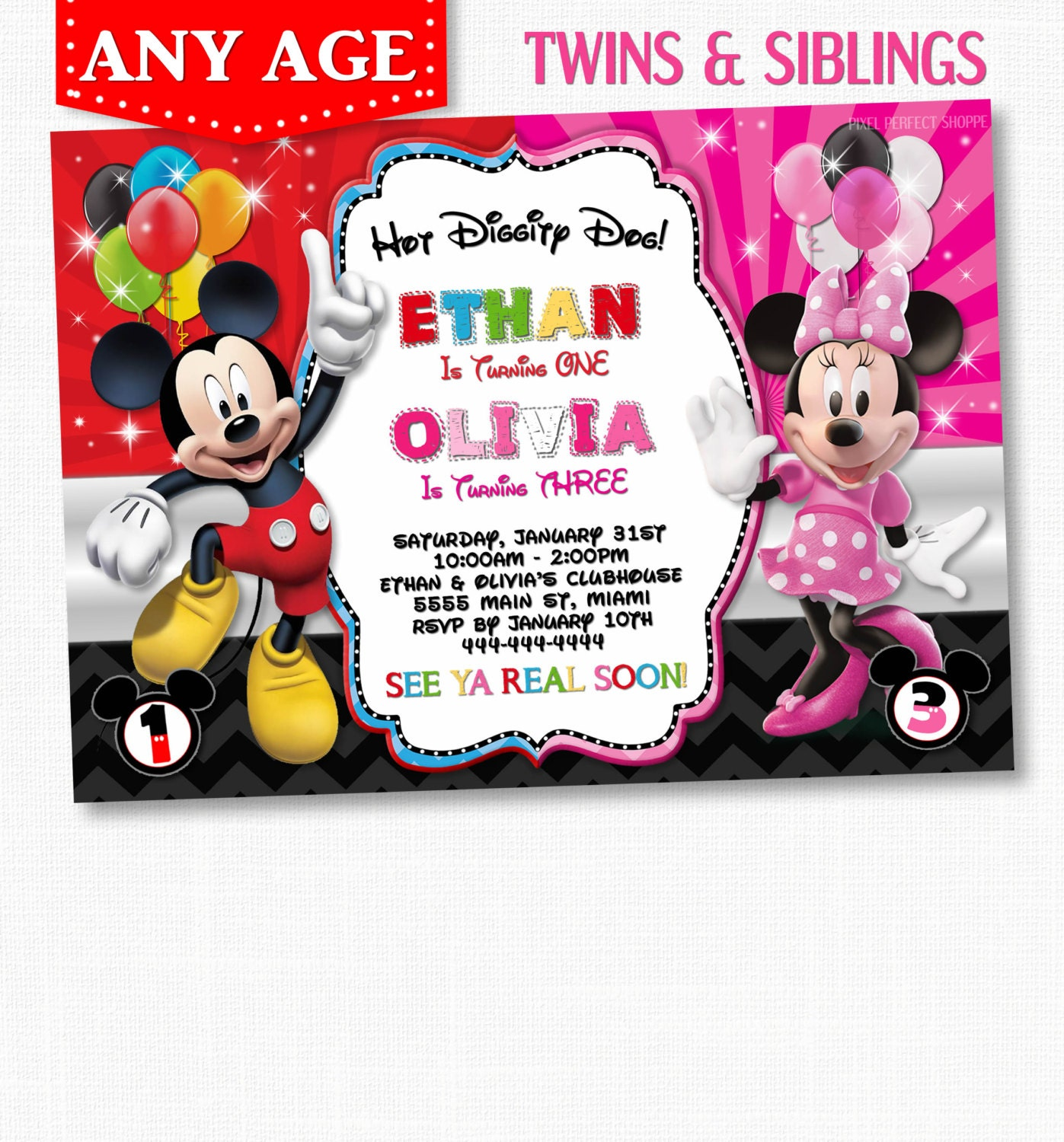 Sibling invitation – Mickey and Minnie Party Invitations