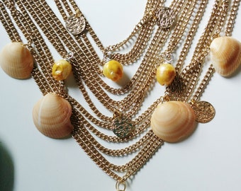 Precious Finds Necklace - Tide Shaped - Gold, golden, shell, layered, ornate, bib, collar, multilayered, chain, AgAuCu, statement, beachy
