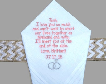 "Personalized GROOM gift from BRIDE ""I love you so much"" Wedding Handkerchief"