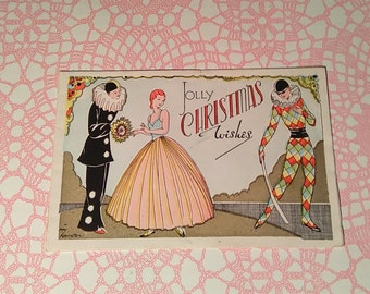 1930's unused Art Deco Christmas card with Pierrot and Harlequin