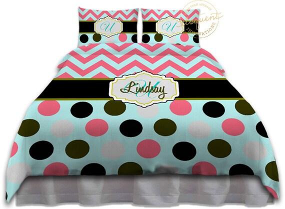 Mint Coral Chevron Comforter Unique Bedding Turquoise Kids