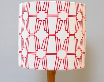 Geo Red Drum Lampshade - handmade lampshade - home decor - fabric shade - geometric Lampshade - decor lighting - patterned shade