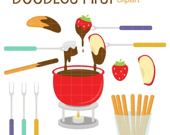 Chocolate Fondue Party Clip Art for Scrapbooking Card Making Cupcake Toppers Paper Crafts