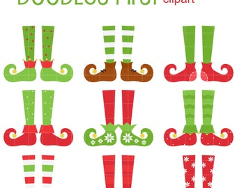 Christmas Elves Digital Clip Art for Scrapbooking Card Making Cupcake Toppers Paper Crafts