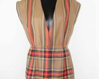 Vintage 1970s Pure Virgin Wool Plaid Blouse/Vest by Al Jean of Canada