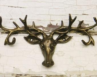 Antler Key Rack, Deer Antler Key Rack, Deer Antler Jewelry Holder, Cast Iron Deer Head, Faux Deer Antlers, Faux Taxidermy, Cabin Decor