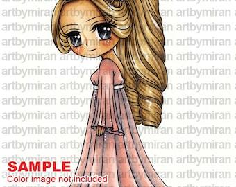 Digital Stamp - Olivia(#154), Digi Stamp, Coloring page, Printable Line art for Card and Craft Supply