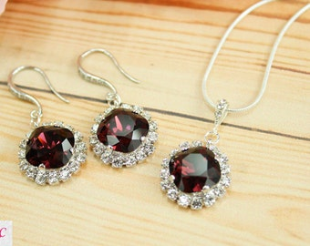 Burgundy Bridal Earrings Bridesmaid Jewelry Marsala Wedding Jewelry Marsala Bridesmaid Jewelry Set Burgundy Drop Earrings Maroon Jewelry