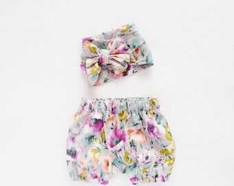 Baby Gift Set, Baby Shower, Kids Gift, Head Wrap and Bloomers Set, Watercolor Floral Shorts, Newborn - 3T