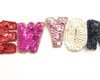"""Choice of Color New York Applique, Sequin Beaded, 9"""" x 2""""  -Multi-Color-3039, Silver-3040, Gold-3041"""