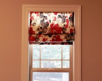 """Custom Made Flat Front Roman Shade - You Choose Fabric and Lining - 35""""w and under"""