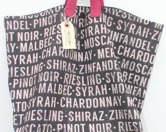 Canvas Bag: Wine Types, washable