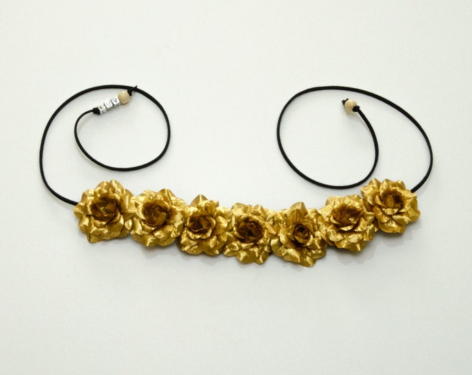 Gold Rose Flower Crown