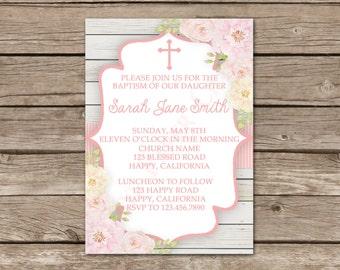 Floral Baptism Invitation, Digital File, You Print