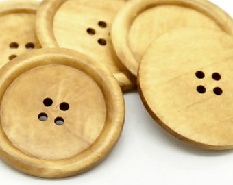 Big Wood Sewing Button 4 Holes - 2 Inches