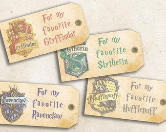 Harry Potter Hogwarts printable gift tags - DIY tags for gifts to print & favor tags - Instant download tag template - gryffindor slytherin