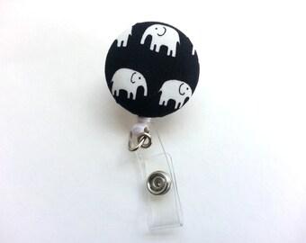 Elephant Badge Reel, Fabric ID Holder, Swivel Clip, Retractable Reel, Black and White, Nurse Gift