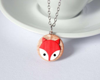 Design red fox necklace charm pendant autumn copper handmade polymer clay