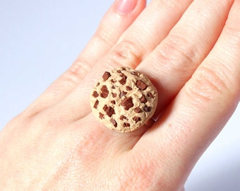 Chocolate chip cookie adjustable big ring kawaii miniature food handmade from polymer clay
