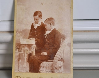 Cabinet Card Vintage Photo Victorian 2 Brothers Boys Reading