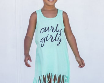 Curly Girly Fringe Beach Dress, baby fringe dress, baby dress, infant dress, beachwear, baby beach wear, toddler beach wear, summer outfit