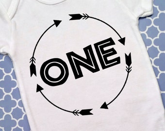First Birthday ONE Shirt in Arrow Circle, African Themed Boys' First Birthday Shirt, Birthday ONE Shirt, 1st Birthday Outfit, Photo Prop