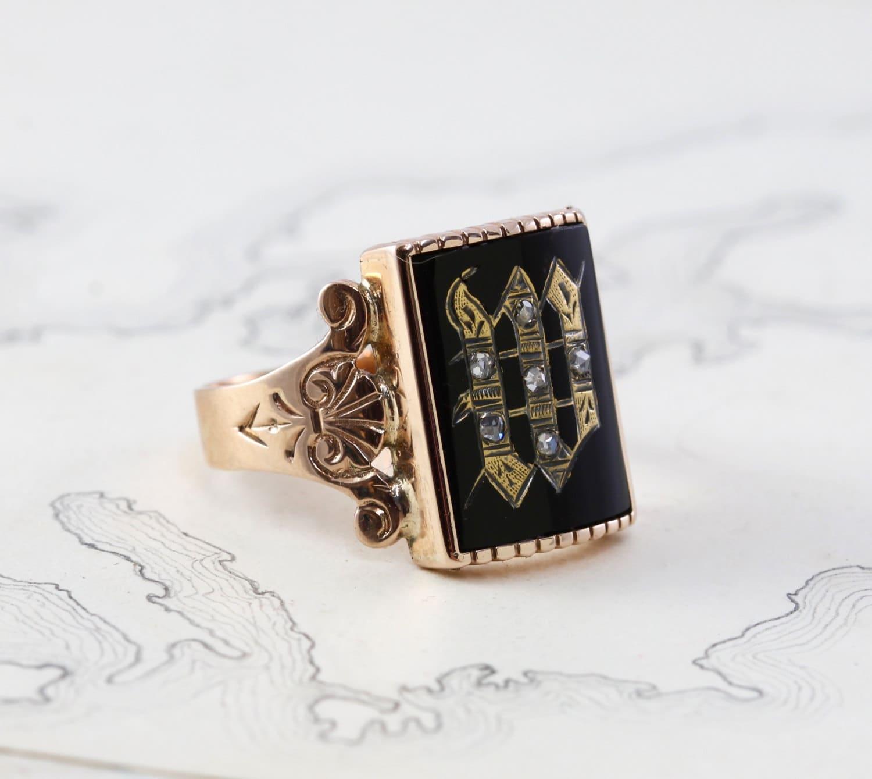 Antique Signet Ring Victorian 10k Rose Gold Black Onyx Amp Rose