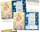 Twinkle Twinkle Little Star Invitation, First Birthday Boy, 1st Birthday Invitation Photo Card, Navy Blue Silver Royal Blue Gold - BIG ONE