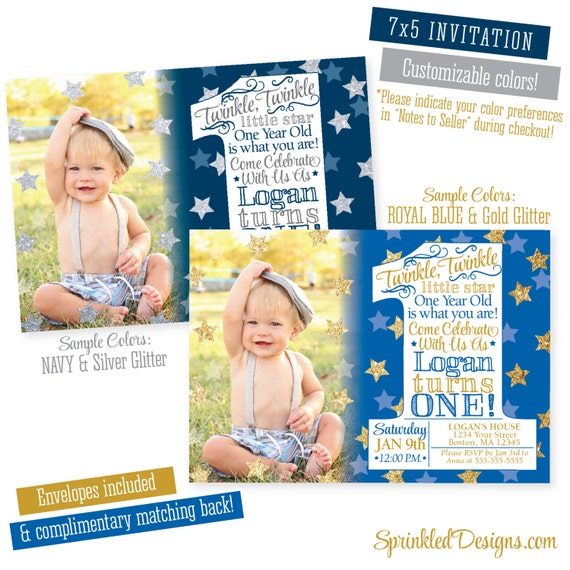 Twinkle twinkle little star invitation first birthday boy photo il570xn filmwisefo