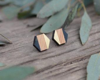 Geo Black Studs - hexagon rosewood stud earrings