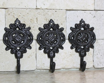 Set of 3 Wall Hooks, Oil Rubbed Bronze Hooks, Ornate Small Decorative Hooks, Bathroom Towel Hooks, Key Hooks, Cast Iron Metal Hooks